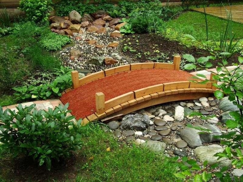 В ландшафтном дизайне все большую популярность приобретает такой элемент, как «сухой ручей», не наполненный водой, а выложенный камнями, которые имитируют русло высохшего ручья.