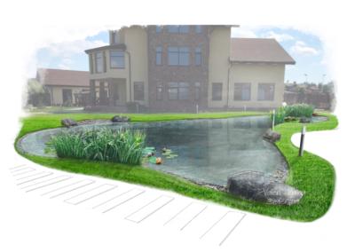 Визуализация водоема выполнена сразу на фотографии участка отведенного под устройства  водоема